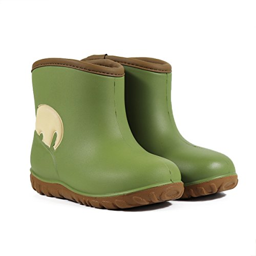 Light Green Footwear (MZKWANG Frosty Boys Girls Snow Boots Waterproof Lightweight Printed PU Footwear ZKLB201 Dark Green Size 11.5)