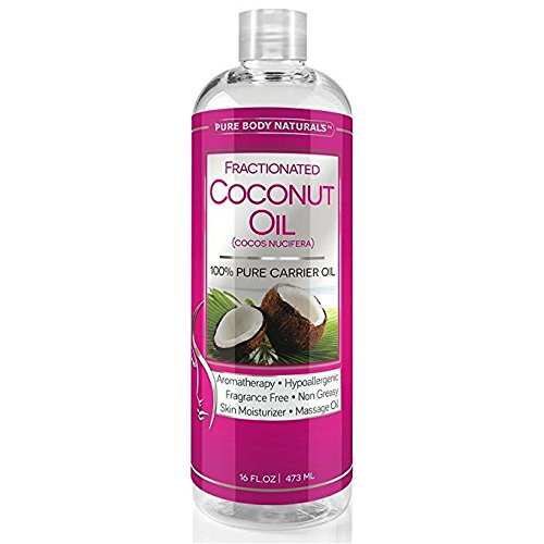 Pure Body Naturals Fractionated Coconut Oil for Skin, Hair, and Carrier for Essential Oils - 16 Fl. Ounce