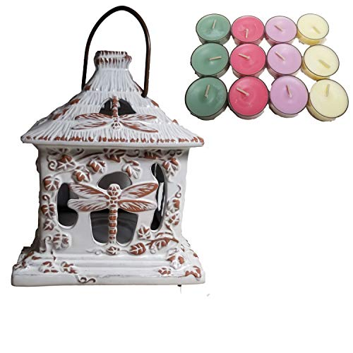 (ShoppeShare Rustic Dragonfly Terra Cotta Lantern and Tealight Candle Bundle - Home Décor - Retired PartyLite)