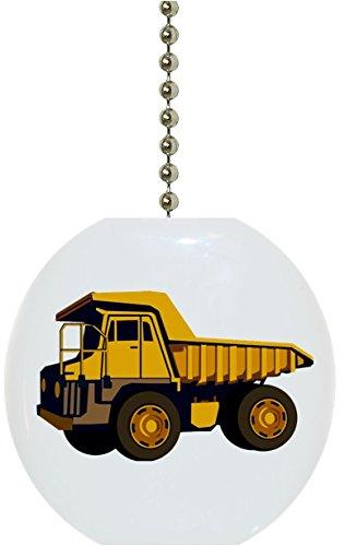 (Yellow Dump Truck Solid CERAMIC Fan Pull)