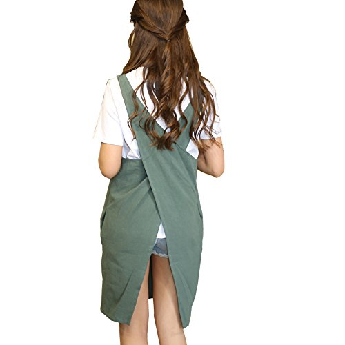 (Soft Cotton Linen Apron Solid Color Halter Cross Bandage Aprons Japanese Style X Shape Kitchen Cooking Clothes Gift for Women Chef Housewarming (Army Green))