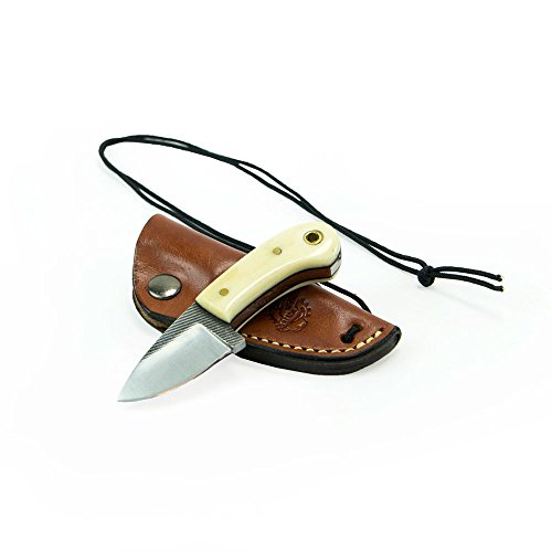 "Knives Ranch Damascus Steel Knives 4"" Neck Knife with Bone Handle. Leather Sheath Included"