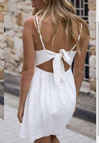 Solid Spaghetti Strap Domple Bow Front Mini Dress Tie Neck Button Womens White Slip V xTqUqwXC