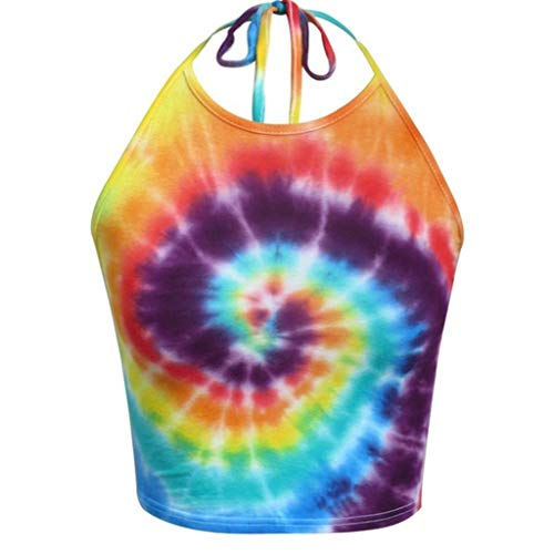 PENGYGY Woman Halter Top Fashion Muticolor Sleeveless Shirt Ladies T-Shirt Tie Dye Crop Top Orange (White Suits Chicago Sox)