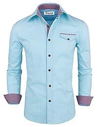 Tom's Ware Mens Premium Casual Inner Layered Dress Shirt TWNMS310S-1-312N-SKYBLUE-US XXL