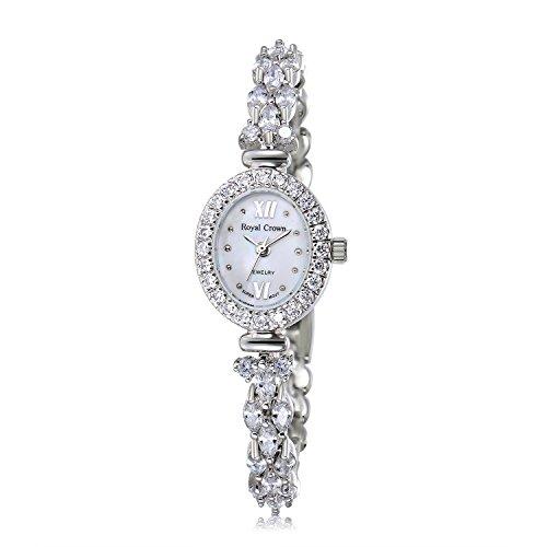 Royal Crown Women's Quartz Watch Luxury Silvery-Tone Bangle Watch Jewelry Waterproof Women Fashion Wrist Wrist Watch from Royal Crown
