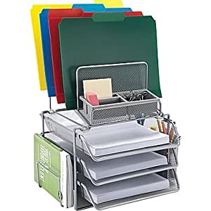 Staples All In One Silver Wire Mesh Desk Organizer 27642