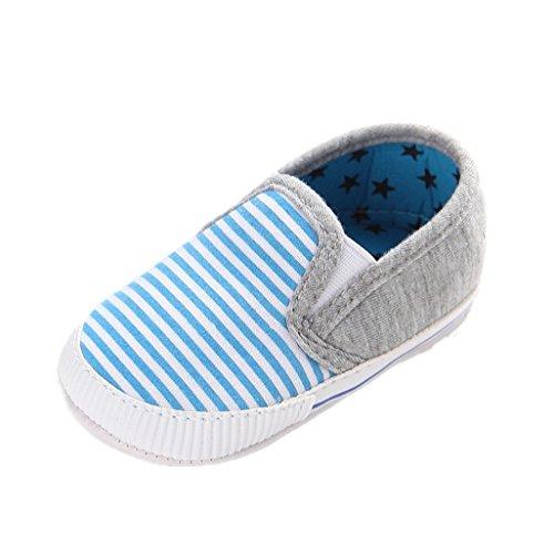 Baby Schuhe Auxma Baby-Segeltuch-Schuhe,Anti-Rutsch-Soft Sohle Sneaker Kleinkind Erste Walking Schuhe Für 3-6 6-12 12-18 Monat (12cm/6-12 M, Rot) Blau