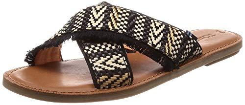TOMS Viv Sandals Black Geometric Woven 10013305 Women's Size 5.5
