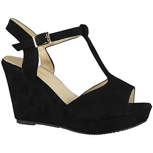 Peeptoe Shoes Platform Wedge Sizes 3 8 Wedding Platform Party Black Sandals Loud Ladies Look Womens Aq8IIp