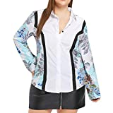 TWGONE Women Plus Size Floral Print Tunic T Shirt Long Sleeve Blouses Causal Tops (X-Large,White)