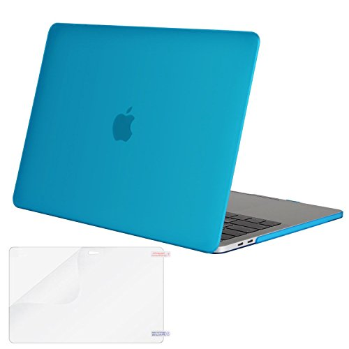 MOSISO MacBook Pro 13 Case 2018 2017 2016 Release A1989/A1706/A1708, Plastic Hard Shell Cover with Screen Protector Compatible Newest MacBook Pro 13 Inch with/Without Touch Bar, Aqua Blue