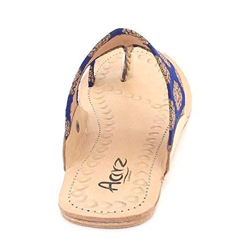Plates Bleu Sandales Taille Open Décontractée Kolhapuri Authentique Chappal Glisser AARZ LONDON Femmes Toe Dames Chaussures Marin sur Confort aOpnBSq