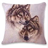 Pgojuni Cute Wolf Tower Flax Pillowcase Decoration Throw Pillow Cover Cushion Cover Pillow Case for Sofa/Couch 1pc (I)