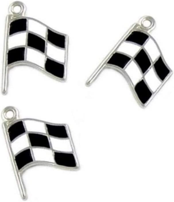 PlanetZia 5pcs Enameled Checkered Race Car Flag Charms for Jewelry Making TVT-RF (Antique Silver)