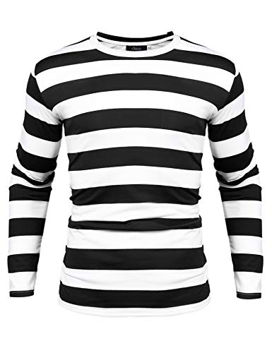 iClosam Men's Crew Neck Basic Striped T-Shirt Long Sleeve Cotton Shirt -