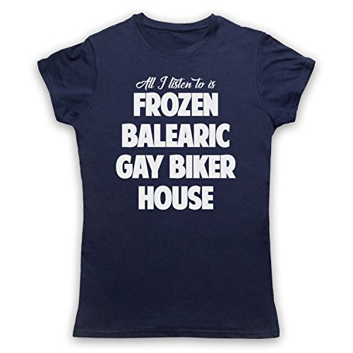 Frozen Balearic Gay Biker House Niche Dance Music Camiseta para Mujer Azul Marino
