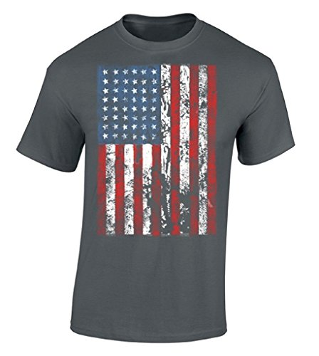 icustomworld American Flag Distressed T-shirt Independence Day USA Flag Shirt