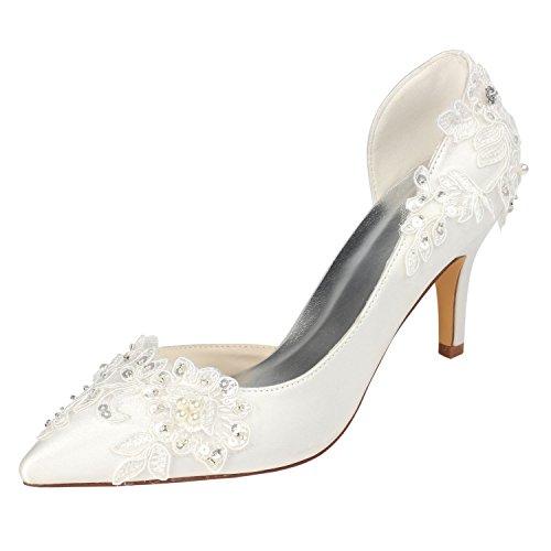 Beaded Wedding Heels - Emily Bridal Ivory Wedding Shoes High Heel Pointed Toe Flowers Beaded Bridal Pumps (EU39/8 B(M) US, Ivory)
