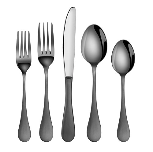 (Artaste 56945 Rain 18/10 Stainless Steel Flatware 20-Piece Set, Black Finished, Service for 4 )