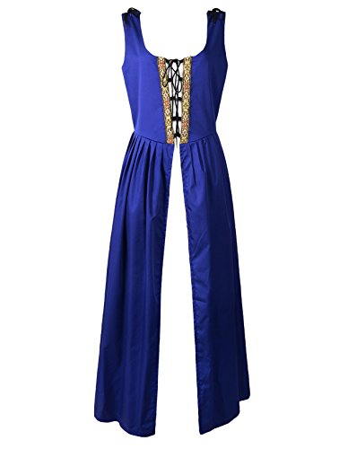 Irish Medieval Clothing - Renaissance Medieval Pirate Peasant Costume Irish Over Dress Fitted Bodice (XL, Blue)