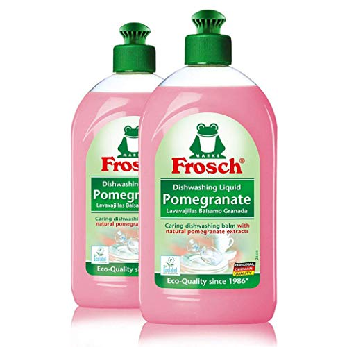 Frosch Natural Liquid Dish Soap, Vegan Hand Dishwashing Detergent, Pomegranate, 500 ml, pack of 2
