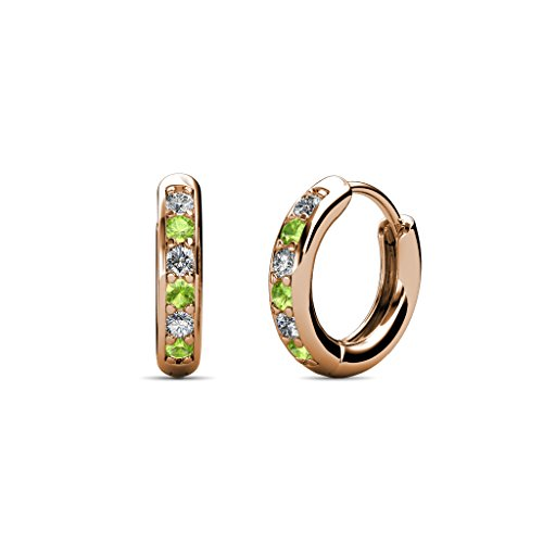 TriJewels Petite Peridot and Diamond (SI2-I1, G-H) Huggies Hoop Earrings 0.25 Carat tw in 14K Rose Gold