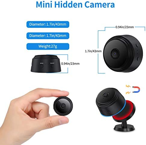 Camera Hidden Home Mini Spy Camera with Audio, Spy Camera WiFi Wireless Nanny Cam with Phone App Control Night Vision Movement Detection Video Recording