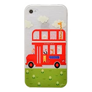 LIMME- Animal Bus Pattern PC Brushed Hard Case for iPhone4/4s