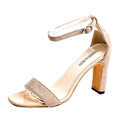Zapatos Abierto De Mujer Sandalias Zapatos De Hebilla De Vestido Tacón Sandalias De Alto Antideslizantes Especificaciones cy Ligeras De Apricot Verano pCqAw8