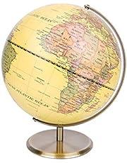 Exerz 30cm Wereld Globe Antiek Globe Metal Arc en Base Gebronsde kleur – Grote roterende wereld - Educatief/Geografisch/Moderne Desktop Decoratie - voor School, Huis en Kantoor