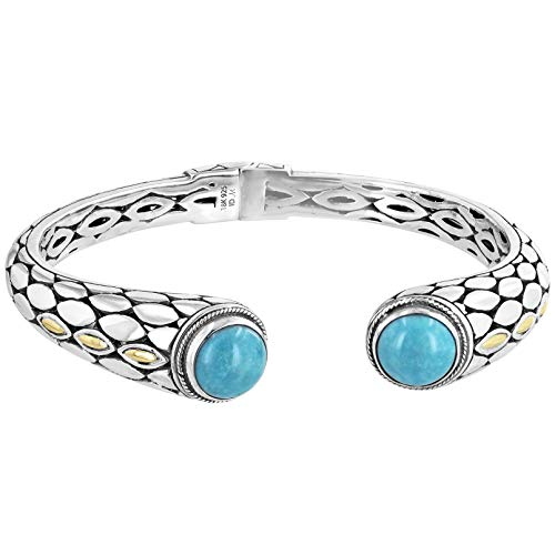 Robert Manse Designs Bali RoManse Turquoise & Sterling Silver Hinged Cuff Bracelet with 18K - Turquoise Silver Bracelet
