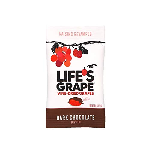 Life's Grape Dark Chocolate Raisins Vine Dried Grapes | Non-GMO, Gluten Free, and Kosher | Under 120 Calories | Snack Pack | .87 oz, Individual