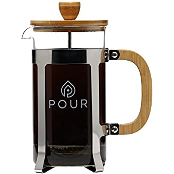 French Press With Extra Thick Borosilicate Glass, Bamboo Lid And Stainless SteelFilter -Eco-FriendlyCoffee Brewing Device –Dishwasher Safe Press Pot Coffee Maker For Ground Coffee And Tea Pour Brand