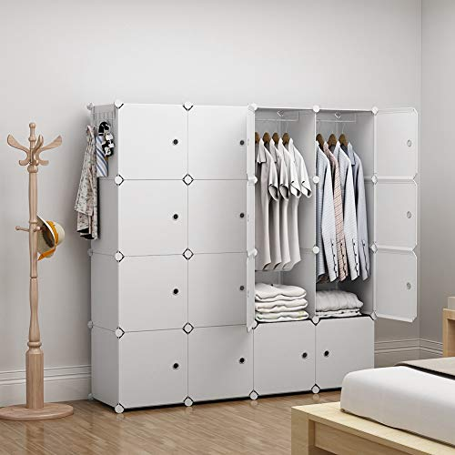 GEORGE&DANIS Portable Closet Organization for Kids Teenagers Plastic Wardrobe Modular Cube Storage Shelf Bookshelf Toy Organizer Cabinet Dresser, White, 14 inches Depth, 4x4 Tiers ()