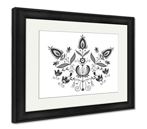 Ashley Framed Prints Polish Folk with Ornamental Floral, Wall Art Home Decoration, Black/White, 26x30 (Frame Size), Black Frame, AG5766820 ()