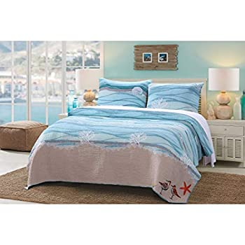 Image of AD 3 Piece Blue Nautical Full Queen Quilt Set, White Sand Nature Coastal Beach Theme Bedding, Turquoise Waves Star Fish Ocean Sea Weed Coral Birds Reversible Solid Color, Cotton Linen Polyester
