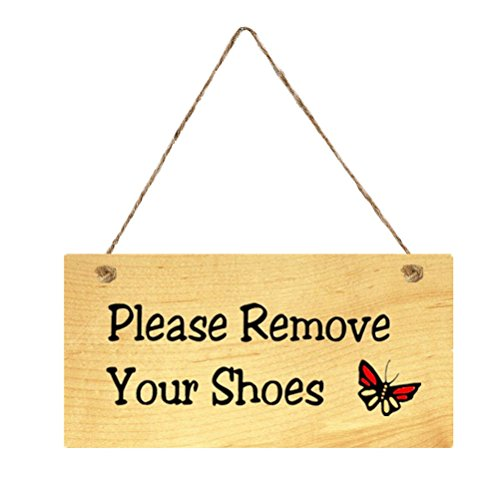 (VORCOOL Please Remove Your Shoes Doorplate Plaque Wooden Hanging Door Sign Board for Home Cafe Shop Store)