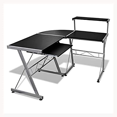 K&A Company Computer Desk Workstation with Pull Out Keyboard Tray Black