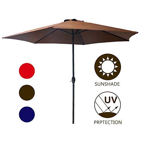 LOKATSE HOME Table Outdoor Market Patio Crank 9 Feet 6Ribs, Brown, Small Umbrella