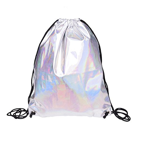 (TOOGOO(R) Shiny Hiking Gym Bag Backpack School Bookbags holo graphic smooth String Bag)