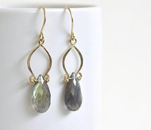 Labradorite Teardrop Earrings - Exotic Earrings - Gold Filled Gemstone Drops -