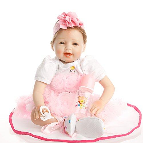SanyDoll Reborn Baby Doll Newborn Doll 22 inch 55 cm Magnetic Lovely Lifelike Cute Girl Toy Pink Princess