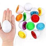 Eadear 6Pcs Kids Infant Toddler Simulation Eggs Color Shape Matching Egg Set Educational Development Puzzle Toy Pegged Puzzles Toy Kids Education Toy for Kids Boys Girls Pegged Puzzles