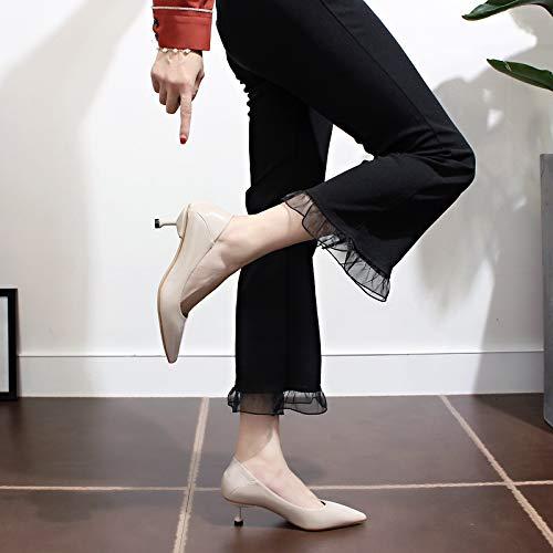 Yukun zapatos de tacón alto Zapatos De Tacón Alto, Acentuados, Estilete, Moda De Otoño, con Gatos, Zapatos Salvajes, Zapatos De Mujer Beige