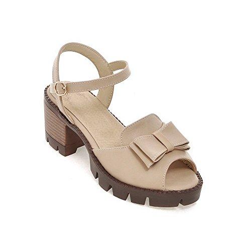 Sandales à Couleur Petite Correct Talon Ouverture Abricot PU Cuir Unie Boucle AgooLar Femme wPXnSxUBHU