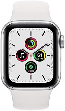 ساعة ابل SE GPS، 40 ملم هيكل من الالمنيوم و سوار رياضي لون ابيض - عادي