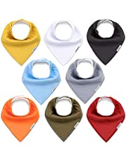 KiddyCare Baby Bibs 8 Pack - 100% Organic Cotton for Drooling and Teething - Soft & Absorbent Bandana Drool Bibs for Baby Boys and Girls - Unisex Baby Shower Gift Set