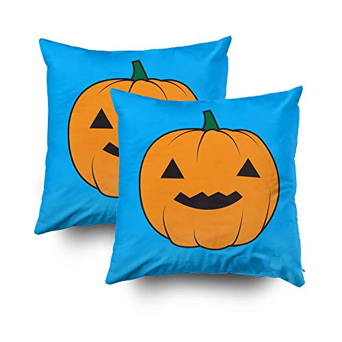Musesh Sofa Zip Pillow Covers, Halloween Pumpkin Halloween Pumpkin Wallpaper Halloween Pumpkin Background for Sofa Home Decorative Pillowcase 18X18 Set of 2 Pillow Covers -
