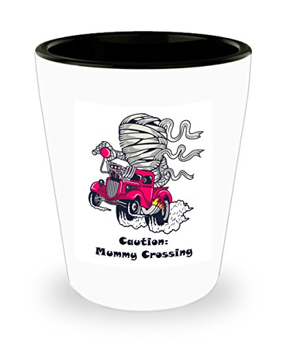 Monster Truck Driver Halloween Costume (Funny Mummy Pick Up Truck Cartoon Shot Glass Gift)